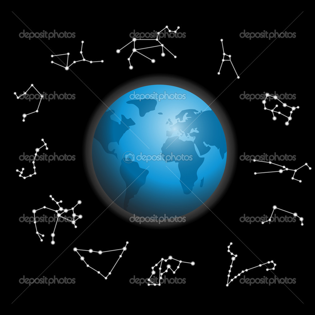 Constellations around the globe vector illustration — Stock Photo #10228550