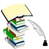 Inkwell peří a vázané knihy pro koncepci vzdělávání. — Stock fotografie
