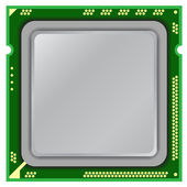 Modern computer processor on a white background. — Stock Photo