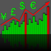 Graph the growth of financial income. Vector. — Stock Photo