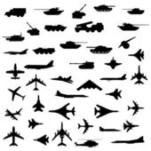 Vector set of aircraft, armored and guns. — Stock Photo