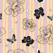 Seamless wallpaper flowers and butterflies - Stock Photo