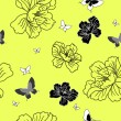 Seamless wallpaper flowers and butterflies — Stock Photo