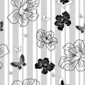 Seamless wallpaper flowers and butterflies — Stock Photo
