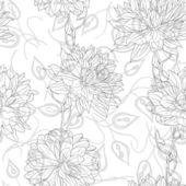 Hand drawn floral wallpaper with set of different flowers. — Stock Photo