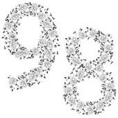 Mano disegno alfabeto ornamentale. lettera 89 — Foto Stock