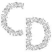 Hand drawing ornamental alphabet. Letter CD — Stock Photo
