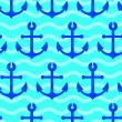 Stock Photo: Seamless wallpaper with sea anchors