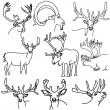 A set of deer, elk, and goats — Stock Photo