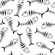 Seamless wallpaper skeleton fish - Stock Photo