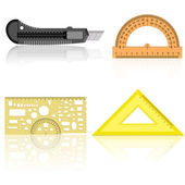 Stationery knife, ruler and protractor — Stock Photo