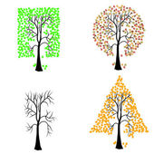 Trees of different geometric shapes. — Stock Photo