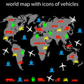 World map with icons of transport for traveling. — Stock Photo