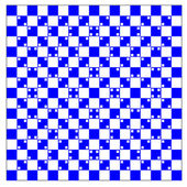 Illusion of volume in blue and white squares — Stock Photo