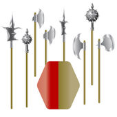 Illustration of medieval weapons and shield — Stock Photo