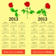 Stylish calendar with flowers for 2013. In Russian and English — Stock Photo #9934157