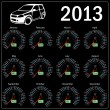 Stock Photo: 2013 year calendar speedometer car in vector.