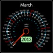 2013 year calendar speedometer car in vector. March. — 图库照片