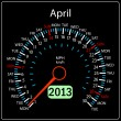 Stock Photo: 2013 year calendar speedometer car in vector. April.