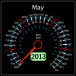 Stock Photo: 2013 year calendar speedometer car in vector. May.