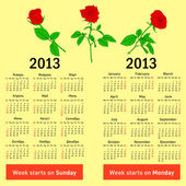Stylish calendar with flowers for 2013. In Russian and English — Stock Photo