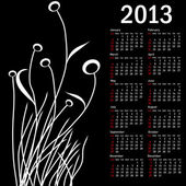 Stylish calendar with flowers for 2013. Week starts on Sunday. — Stock Photo