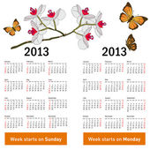 Stylish calendar with flowers and butterflies for 2013. — Stock Photo