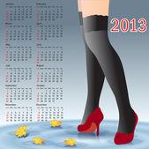 2013 年カレンダー女性の足のストッキング — ストック写真