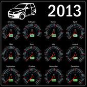 2013 year calendar speedometer car in vector. — ストック写真