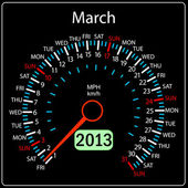2013 year calendar speedometer car in vector. March. — Stock Photo
