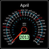2013 year calendar speedometer car in vector. April. — Stock Photo
