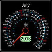 2013 year calendar speedometer car in vector. July. — Stock Photo