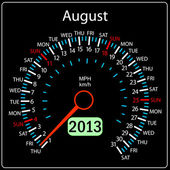 2013 year calendar speedometer car in vector. August. — Stock Photo