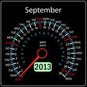 2013 anno calendario tachimetro auto in vettoriale. settembre. — Foto Stock