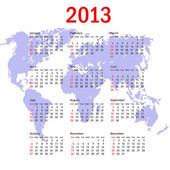 Calendar 2013 with world map. Sundays first — Stock Photo
