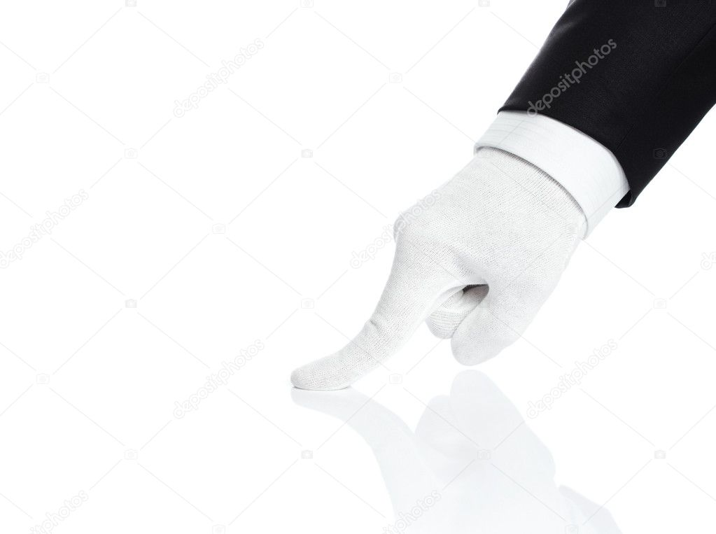Male hand checking the quality isolated on white — Stock Photo #8553622