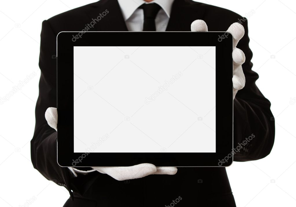 Elegant man presenting product or text on digital tablet with clipping path — Stock Photo #8566959