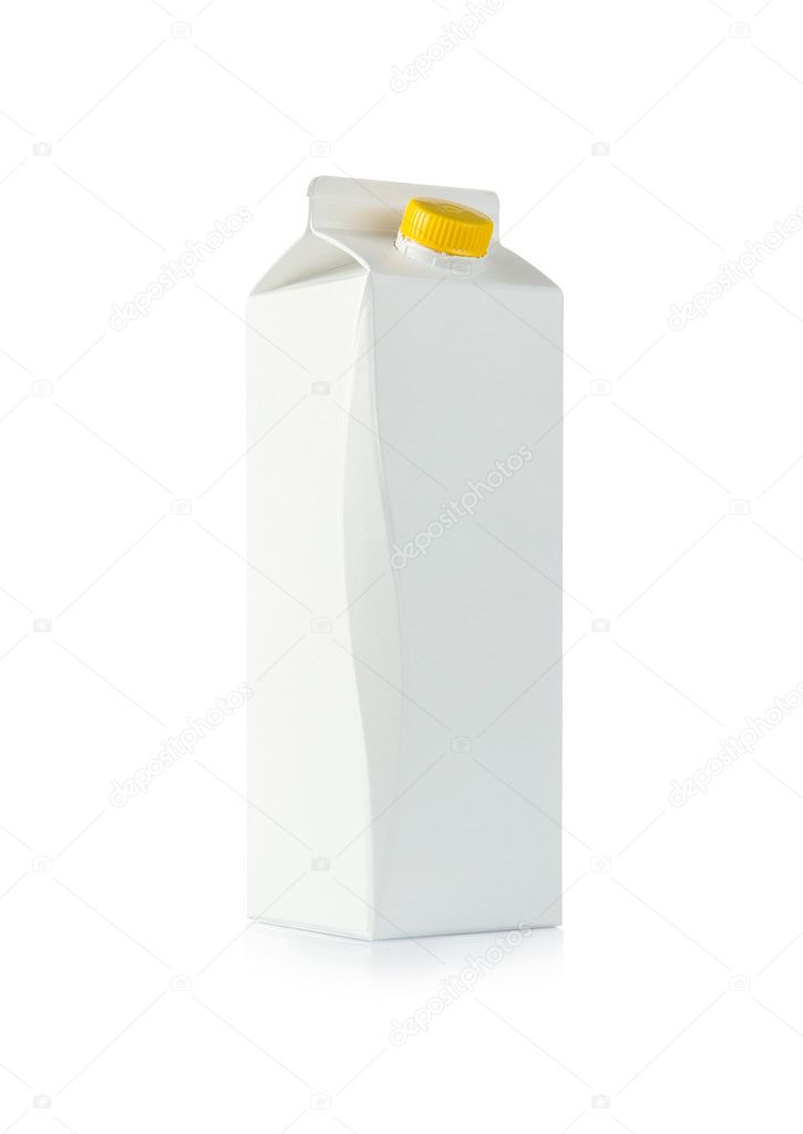 Front view of a blank milk box isolated on white background — Stok fotoğraf #9408365
