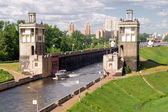 Floodgates on the Moscow canal — Stok fotoğraf