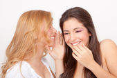 Teens whispering and gossiping — Stock Photo