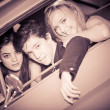 Stock Photo: 60s look image of in car