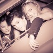 Stockfoto: 60s look image of in car