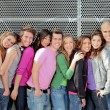 Stock Photo: Group of diverse students or teens on campus