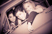 60s look image of in car — Stock Photo