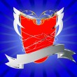 Red shield with banner — Stockvektor