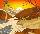 夕阳在河上 — 图库矢量图片