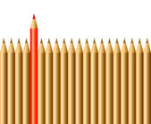 Pencils and one red pencil — Stock Vector