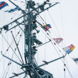 Mast of the military ship and alarm flags — Stock Photo