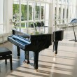 Stock Photo: Grand piano in hall shined by sun