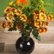 Summer flowers bouquet in a vase, close-up — Stock Photo
